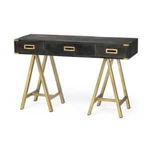 Picture of 50371 - Staten 48.3 x 29.5 Dark Brown Wood Body and Gold Iron Legs Writing Desk