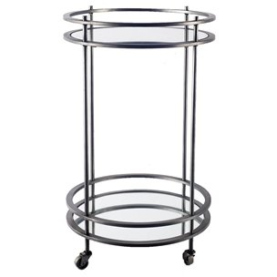 Picture of 67195 - Newbury Metal Frame Two-Tier w/mirrored shelves Bar Cart