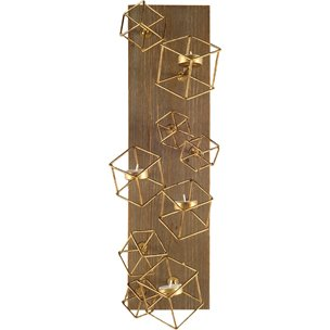 """Picture of 67662 - Salvador I 22""""H Wood Based Brass Metal Cube Wall Candle Holder"""