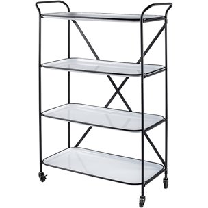 Picture of 67225 - Belvedere Black Metal Frame w/Four Removable White Trays Bar Cart