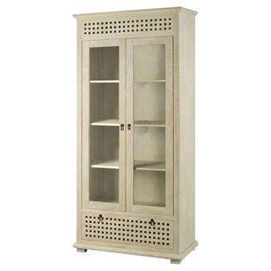 Picture of 67549 - Lawson I 38x82 Solid Wood Whitewashed Two Glass Door w/Storage Drawer Display Cabinet