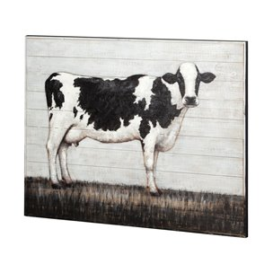 Picture of 67722 - Holstein 48x36 Jersey Cow Original Hand Painted on Wood Oil Painting