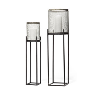 Picture of 67962 - Steen Set of Two Black Meshed Metal Candle Holder Lanterns