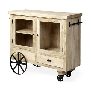 Picture of 67835 - Wadsworth Solid Wood Two Door Cabinet One Drawer Bar Cart