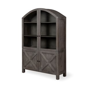 "Picture of 67846 - Barrett V 73""H Gray Solid Wood Display Cabinet"