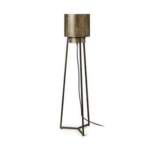 "Picture of 67954 - Chaudron II (54""H) Black and Gold Perforated Metal Shade Floor Lamp"