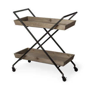 Picture of 67996 - Ursula Black Metal frame Two-Tier w/Wood Shelves Bar Cart