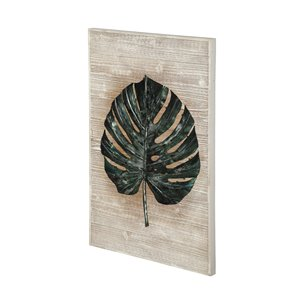 Picture of 68008 - Philo I 22x36 Metal Palm Leaf Mounted on Wood