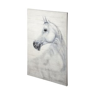 Picture of 68012 - Cracklin' Rosie 42x60 White Horse Original Hand Painted on Wood Oil Painting