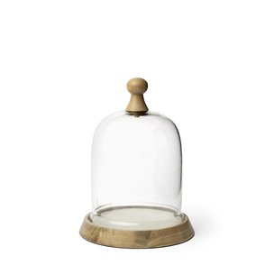 Picture of 68154 - Campana I Small Wooden/White Marble Base Glass Cloche