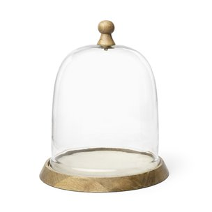 Picture of 68155 - Campana II Large Wooden/White Marble Base Glass Cloche