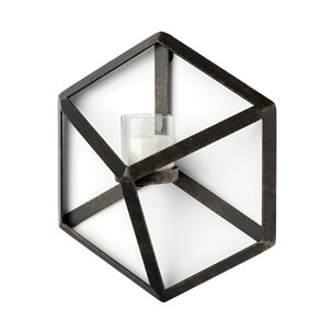 """Picture of 68250 - Torque 9.5""""H Hexagon Black Metal Wall Candle Holder"""