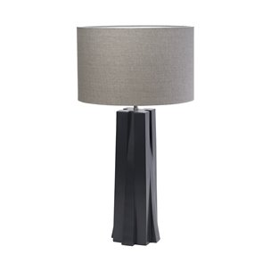 "Picture of 68338 - Brendan (35.8""H) Navy Blue Resin Base Grey Fabric Shade Table Lamp"