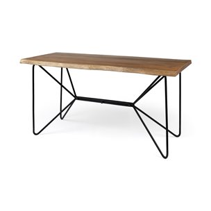 Picture of 68152-AB - Papillion IV 60x30 Blonde Solid Wood and Live Edge Iron Writing Desk