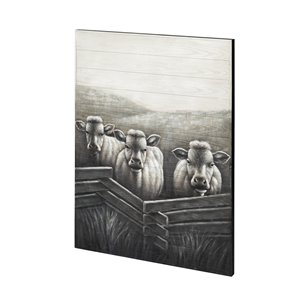Picture of 68351 - Happy Heard (36x48) Large Vertical Farmhouse Cows Original Hand Painted on Wood Oil Painting