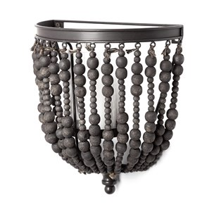 """Picture of 68425 - Liam II 11""""H Black Metal Frame w/Wooden Beads Wall Candle Holder"""