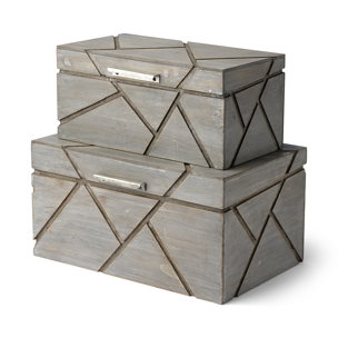 Picture of 68435 - Niobe Set of Two Gray Wooden Nesting Boxes
