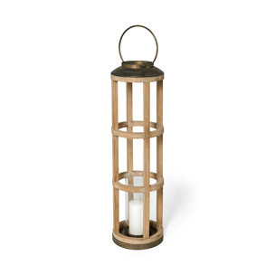 Picture of 68441 - Andy I Large Natural Wood Cylindrical Lantern