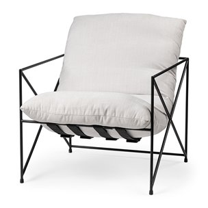 Picture of 68446 - Leonidas Cream Upholstered Padded Seat and Black Metal Frame Accent Chair