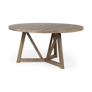 """Picture of 68463 - Legolas I 60"""" Round Brown Solid Wood Top & Base Dining Table"""