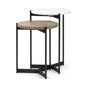 """Picture of 68490 - Larkin II 16"""" Set of Two Round Top Medium Brown Wood and Marble Nesting End/Side Tables"""