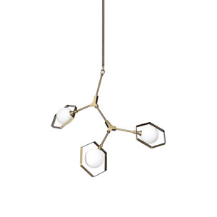 """Picture of 68591 - Desousa II (33.9""""L x 8.8""""W x 28""""H) Champagne Metal Multi-Arm Three Light Chandelier"""