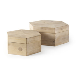 Picture of 68540 - Elyse Set of Two Brown Wooden Hexagonal Boxes