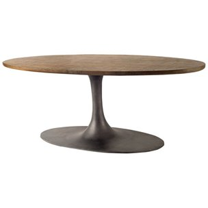 Picture of 68654-AB - McLeod III 96x48 Oval Brown Solid Wood Metal Pedestal Base Dining Table