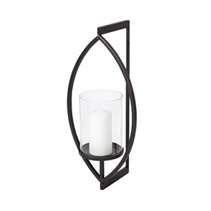 """Picture of 68417 - Drax 22""""H Black Metal Wall Candle Holder"""