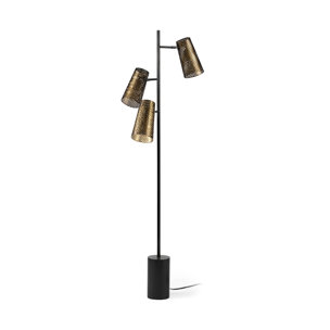 "Picture of 68428 - Wesley III (65""H) Gold/Black Metal Three Light Floor Lamp"
