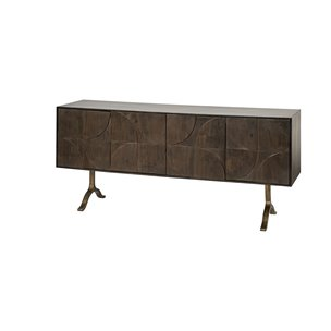 Picture of 68749 - Xanti 70x18 Brown Solid Wood Frame Gold Metal Legs 4 Door Cabinet Sideboard