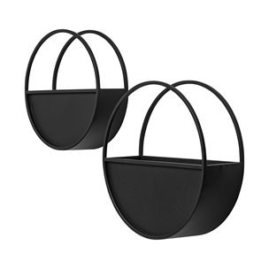 Picture of 68822 - Hank Set of 2 Black Metal Hanging Wall Planters