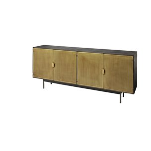 Picture of 68853 - Newsome II 79x16 Black Solid Wood Top Black Metal Base 4 Gold Cabinet Door SideBoard
