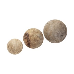 Picture of 68856 - Carrick Set of 3 solid wood decorative spheres in natural brown