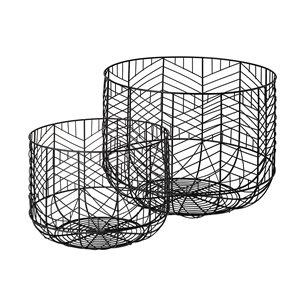 Picture of 68949 - Idris Set of Two Black Metal Geometric Mesh Bowls