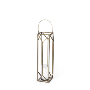 Picture of 68975 - Ivy Small Gold Metal Geometric Cage Candle Holder Lantern