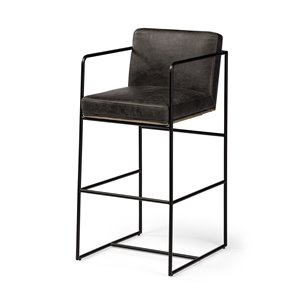 """Picture of 68761 - Stamford 40"""" Total Height Ebony Leather Seat Black Metal Base Stool"""