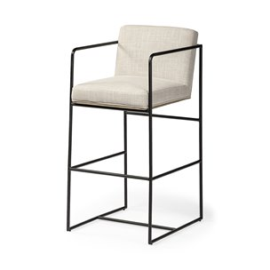 """Picture of 68762 - Stamford 40"""" Total Height Cream Upholstered Seat Black Metal Base Stool"""