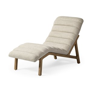 Picture of 68768 - Pierre Cream Genuine Leather Armless Chaise Lounge Chair