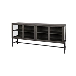 Picture of 69011 - Arelius II 70x18 Black Solid Wood Black Metal Base 4 Glass Cabinet Door SideBoard