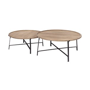 Picture of 69012 - Helios I (Set of 2) Brown Solid Wood Top Black Metal Base Nesting Coffee Tables