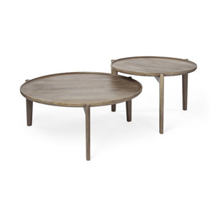 "Picture of 69024 - Cleaver Set of 2 39.5"" & 31.25"" Round Brown Solid Wood Nesting Coffee Tables"