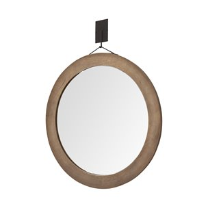 "Picture of 69025 - Avram 43.5"" Round Brown Wood Frame Mirror"