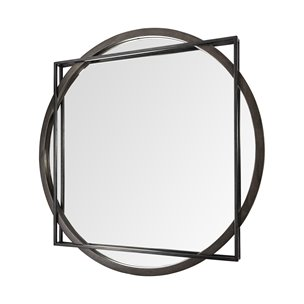 "Picture of 69026 - Norbert 46"" Round-Square Black Wood/Metal Frame Mirror"