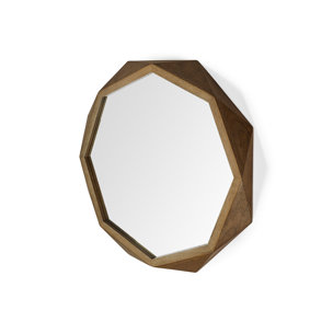 "Picture of 69027 - Aramis I 32"" Octogon Brown Wood Frame Wall Mirror"