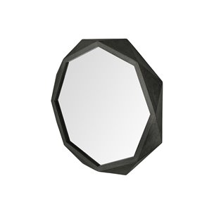 "Picture of 69028 - Aramis I 32"" Octogon Black Wood Frame Mirror"