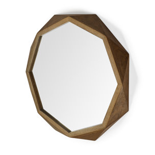 "Picture of 69029 - Aramis II 41"" Octogon Brown Wood Frame Wall Mirror"