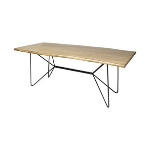 Picture of 68752-AB - Papillion II 84x40 Rectangular Blonde Live Edge Sold Wood Top Black Metal Base Dining Table