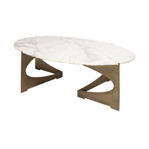 Picture of 69051-AB - Reinhold III 48x30 Oval Marble Top Gold Metal Base Coffee Table