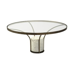 "Picture of 69052-AB - Jacinta I 36"" Round Glass Top Metal and Marble Pedestal Coffee Table"